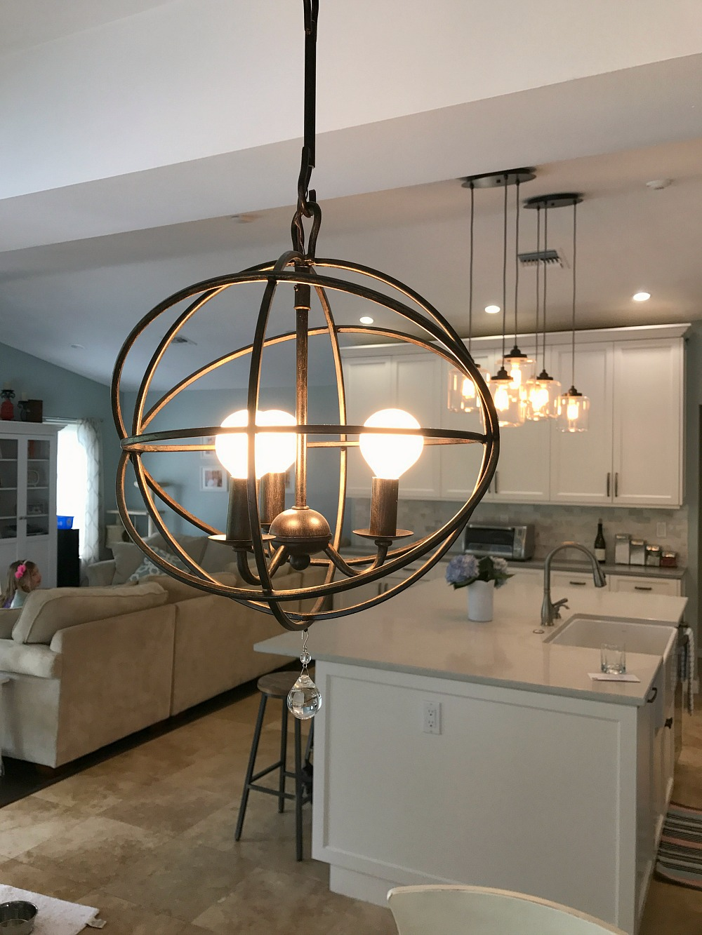 Modern farmhouse kitchen reveal kristen hewitt for Farmhouse style kitchen lighting